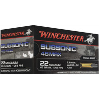 BALLES WINCHESTER 22WMR HOLLOW POINT SUBSONIQUE 45GR X50