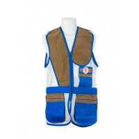 GILET DE TIR SHOOT OFF SPORTING BLEU AZUR FILET BLANC L