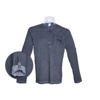 T-SHIRT GRIS GLOCK HENLEY MANCHES LONGUES S