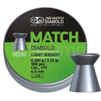 BOÎTE 500 PLOMBS JSB DIABOLO GREEN MATCH LIGHT WEIGHT CAL.4.5 DIAM.4.49
