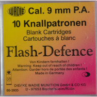 10 CARTOUCHES WADIE 9MM FLASH DEFENCE PA A BLANC