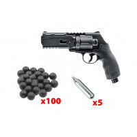 PACK REVOLVER T4E HDR50 CAL 50 - 7.5 J + 100 BILLES + 5 CARTOUCHES CO2