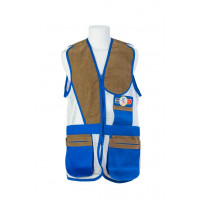 GILET DE TIR SHOOT OFF SPORTING BLEU AZUR FILET BLANC