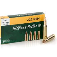 CARTOUCHES SELLIER BELLOT CAL 222 REM FMJ BOITE DE 20